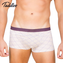 Taddlee Brand Men Underwear Cotton Boxer Soft Colors Men's Boxers Trunks Shorts Basic Print Grid Underpants Classic New(China)