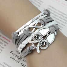 2017 New Women Korea Style Vintage Infinity Love Owl Charms PU Leather Multilayer Bracelet Bangles Men Jewelry Friendship Gift