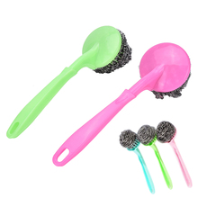 Kitchen Pot Brush  BBQ Cleaner Brushes Replaceable Pan Dish Grill Scrub Steel Wire Cleaning Ball Scourer Home Wash Clean Tool