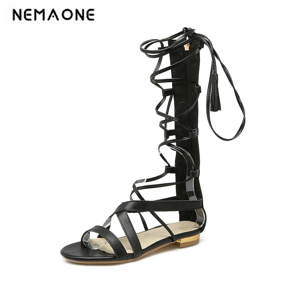 2018 new fashion gladiator women shoes summer boots ladies flat sexy knee boots casual shoes woman black summer shoes<br>