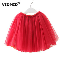 VIDMID girls tutu skirts baby ballerina skirt childrens chiffon pettiskirts kids skirt 4 layers princess clothing top quality