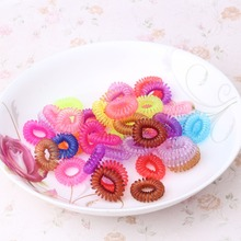 12PC=1Pack Telephone Wire Line Cord Invisi Traceless Hair Ring Gum Elastic Band For Girl Rope Candy Color Women Hair Scrunchy