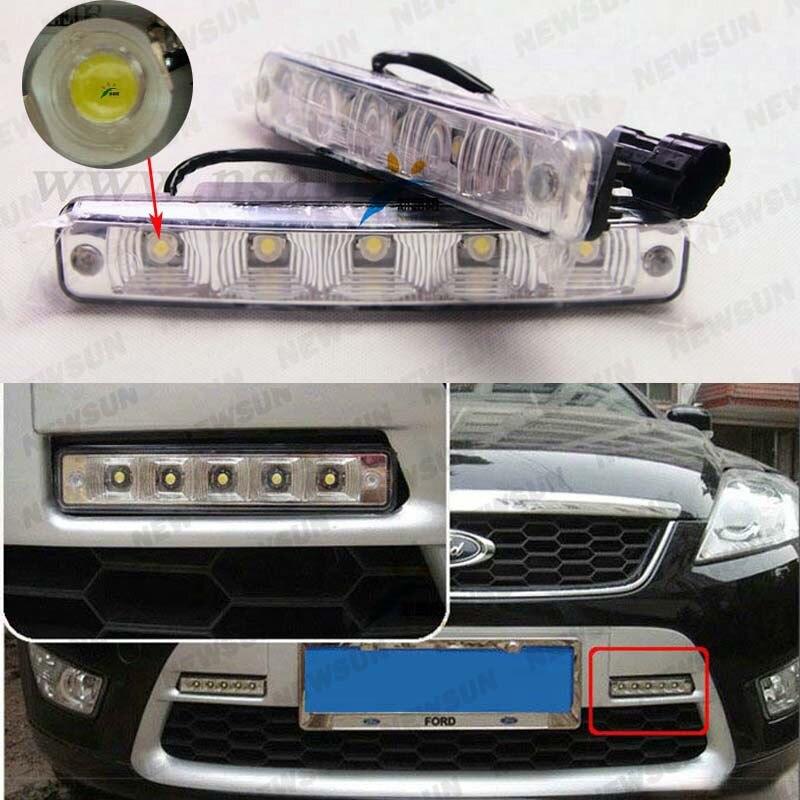 Universal car led driving light 5 leds Epistar 9-16v dc led daytime running light car headlamp fog driving day light bar led drl<br><br>Aliexpress