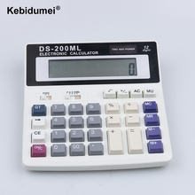 DS-200ML Office Usage Multi-function Electronic Calculator Large Keys Dual Power Computer 12 Digits Counting Number LED Display(China)