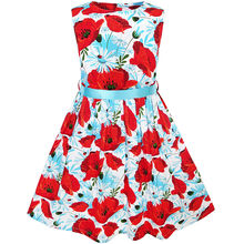 Sunny Fashion Girls Dress Red Flower belt Sundress Summer Beach dress Cotton 2017 Summer Princess Wedding Party Size 2-10