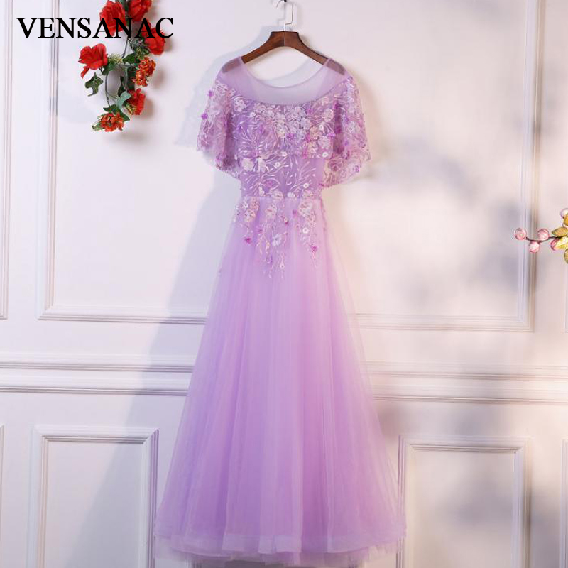 VENSANAC 2018 O Neck Flowers Embroidery A Line Long Evening Dresses Lace Appliques Cape Short Sleeve Party Prom Gowns