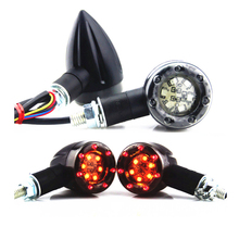 Black M8 Motorcycle 6+7 LED Amber & Red Bullet Blinker Turn Signal Indicators Running Brake Tail Light Cruiser Chopper Custom(China)