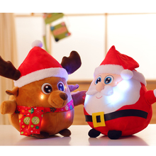 Kawaii LED Glowing Santa Claus Snow Man/Elk Plush Doll Merry Christmas Decoration Supplies Kids Music Toy Gift