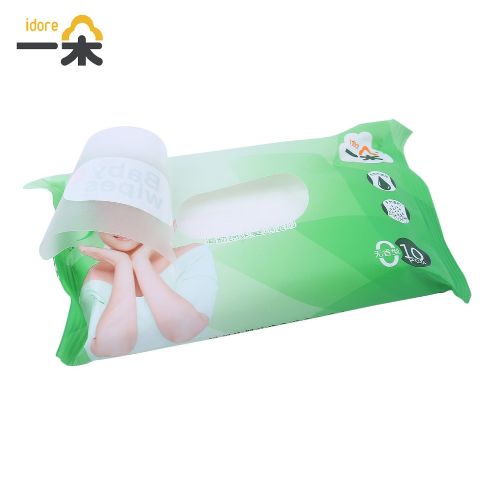 100pcs/10 Pack Idore Newborn Baby Wet Wipes Fresh Soft Moist Toddler Infant Disposable Portable Tissue Skin Clean Care Wet Wipes 8