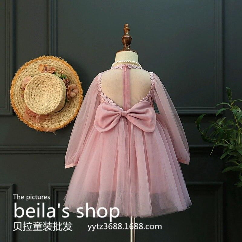 2017 South Korean children spring new big butterfly knot transparent Halter fairy princess dress<br><br>Aliexpress