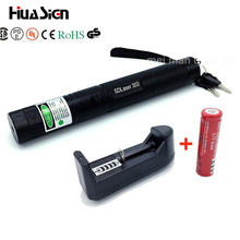 High Quality Powerful Green Laser Pen Aluminum Alloy 303 Lazer Pointer Presenter With Safe Key+18650 Battery+18650 Charger(China)