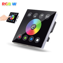 DC12V 4A*4CH Black Tempered Glass Panel Digital Touch Screen Dimmer Home Wall Light Switch For RGBW LED Strip Tape 4 Channel()