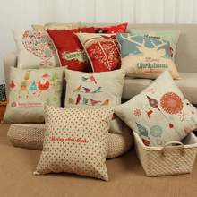 Trend Fashion Red Cushion Case Christmas Series Cotton linen pillow cover Home Decor(China)
