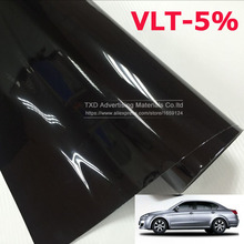 50x300CM/Lot Dark Black Car Window Tint Film Glass VLT 5% Roll 2PLY Car Auto House Commercial Solar Protection Summer