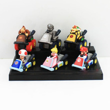 Free Shipping 6pcs/lot Super Mario Bros Kart Pull Back Cars Mario Bowser Koopa Princess Toad Action Figures For Children