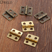 DRELD 40Pcs 13*12mm Mini Cabinet Drawer Door Butt Hinges Antique 4 Holes Jewelry Boxes Decorative Hinges for Furniture Hardware(China)