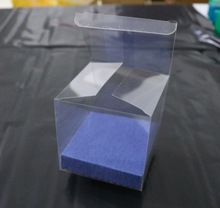 20PCS/LOT  10x10x10CM  PVC Clear Boxes Transparent Plastic Candy Fruit Packing Box( With Blue Bottom bracket)