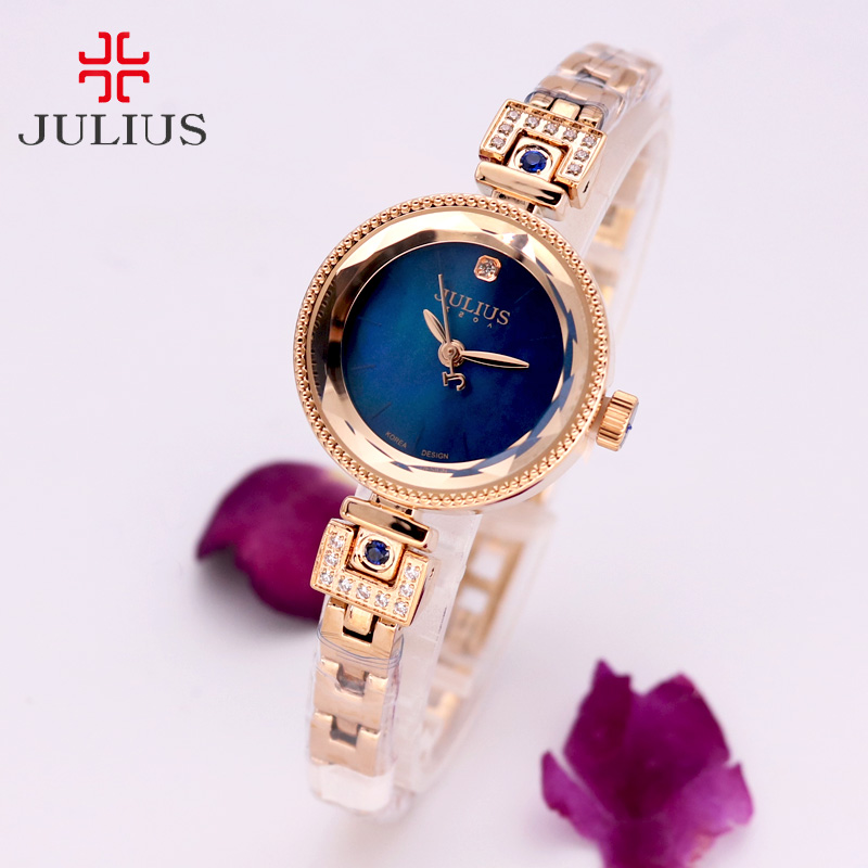 Claw-setting Mother-of-pearl Julius Womens Watch Japan Quartz Hour Fine Fashion Clock Metal Chain Bracelet Girl Gift Box<br>