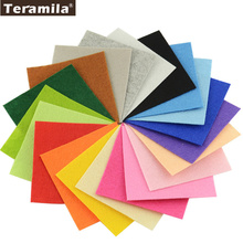 Solid Color 100% Polyester Nonwoven Felt Fabric DIY Precut Pack For Flower Bag Doll 1.0MM Thick 15x15CM/piece Teramila(China)