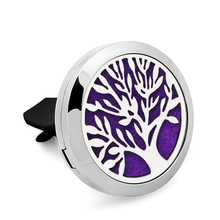 Tree of life Essential Oil Car Diffuser Aroma Locket Vent Clip 316L Stainless Steel Perfume locket Magnetic with 10pcs Pads