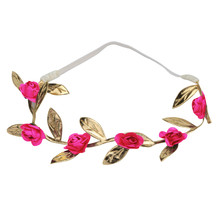 DIY Rose Bronzing Leaves   Girls Headband Elastics For Newborns Hair Head Band best hair accessories for   #48
