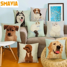 Cute Pet Dogs/Cats Printing Cushion Cover Square Linen Pillowcase Home Decorative Soft Throw Chair/Car/Sofa Pillow Cover 45X45cm(China)