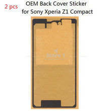 2 Pcs for Sony Xperia Z1 Compact Original Back Glass Adhesive Sticker;Waterproof Back Battery Cover Sticker for Z1 Compact