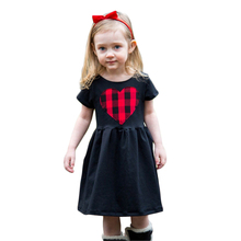 Baby Girls Black Dress Heart Shaped Striped Plaid Princess Dresses 2017 New Summer Kids Casual Dress For 2-6 Years GD122(China)