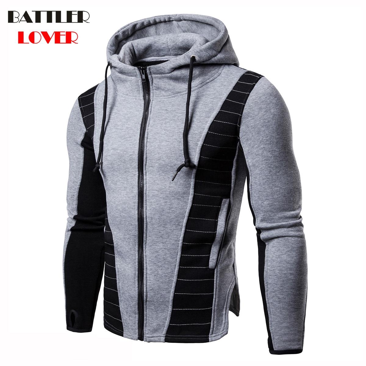 2018 Thick Hooded Hoodies Men Winter Hoodies Mens Patchwork Sweatshirt Hip Hops Males Biker Casual Brand Men Hombre Hoody Jacket