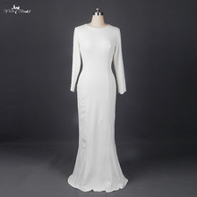 RSW898 Ivory Crepe Fabric Simple Long Sleeve Wedding Dresses For A Beach Wedding Muslim