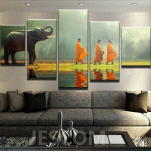 HD Print 5 pcs Elephant Monastery Buddha Painting canvas Modular wall Painting for Home living room decor(China)