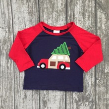 Christmas Fall/winter baby boys children clothes boutique cotton top t-shirts raglans outfits red Santa long sleeve raglans