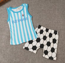 Kids Boys Clothes Sportswear 2017 Summer Baby boys girls clothing set Casual Football clothes sets Tops+shorts sport suit(China)