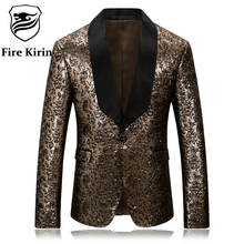 Fire Kirin Gold Blazer For Men 2017 Slim Fit Mens Floral Blazer Stage Costumes For Singers Vintage Party Wear Casual Suit Q251(China)