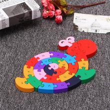Wooden Snail Shape Puzzle Jigsaw IQ Alphabet Number Kid Educational Model Toys Gift For Children Adult