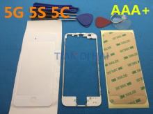 AAA+ Front Screen Protector For iPhone 5 5S 5C Outer Glass Lens Cover Replacement + lcd frame + Stickers + tools