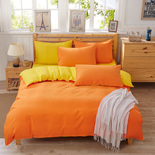 Pure bright yellow household textile Aloe cotton Healthy bedding 4Pcs Bed line Duvet Case Bed Sheet Size Cotton King Size Set