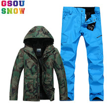 GSOU SNOW Brand Ski Suit Men Ski Jacket Pants Winter Sets Snowboard Jacket Pants Waterproof Mountain Skiing Suit Sport Clothing(China)