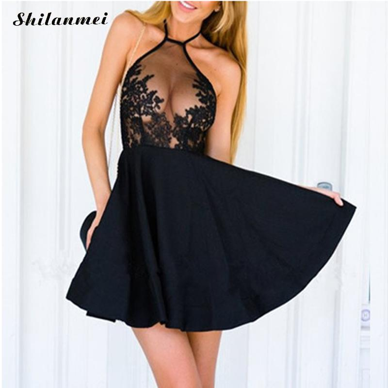New Woman Summer Lace Dress Halter Backless Mini Sexy Dress Club Wear Vestido Sexy Party Bodycon Black Dress Vestido de Festa