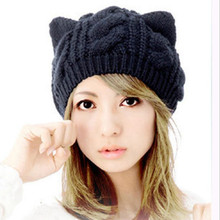 Yyun Women's Hat Cat Ear Crochet Braided Knit Caps cat hat beanie women beanies for ladies(China)