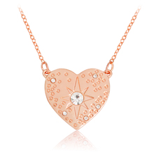 Heart Shaped Starburst Hammered Necklace Crystal Rhinestone Pendant Necklace Rose Gold DIY Chain Fashion Jewelry Gift for Women