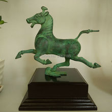 Hot Sale Fine Home Decoration Chinese Antique Bronze Copper Horse on Swallow Lucky Statue Decor Crafts Sculpture Collection