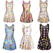 Classic QQ Emoji Sports Tennis Dress Badminton Sportswear Summer Sexy Slim Evening Dresses Reversible One Piece Party Dress Lady