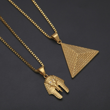 Ancient Egypt Charm Necklace Pharaoh King Gold Color Necklaces HipHop Men Women Charm Crystal Chain pharaoh pendants Jewelry