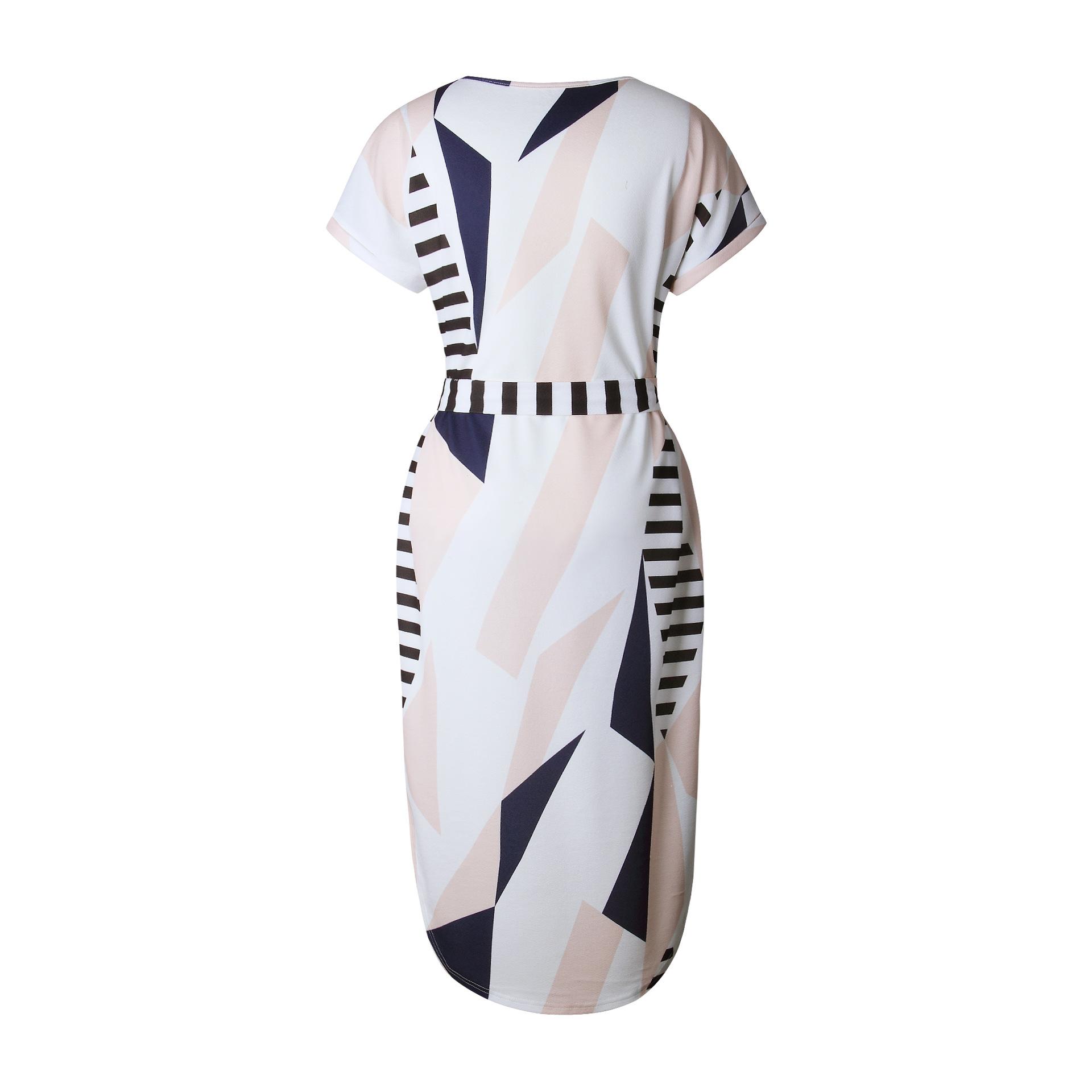 2018 Summer Dress Women Print V Neck Short Sleeve Robe Female Dresses Casual Sashes Midi Dress Ladies Elegant Vestidos Dropship 9