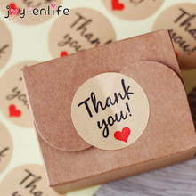 "JOY-ENLIFE 120pcs/lot New Retro Kawaii ""Thank you"" Round Kraft Paper Seal Sticker For Handmade Products Seal Seals Sticker(China)"