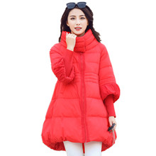 Brand Women Down Jackets And Coats 2016 Winter White Duck Padded A-line Down Coat Stitching Knitted Sleeve Warm Outerwear CT243