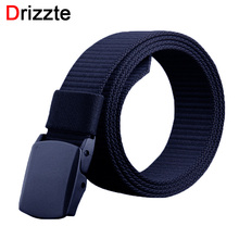 Drizzte Blue Mens Plus Size Nylon Web Belt 120cm Webbing YKK POM Plastic Buckle 51 inch Duty Belt for Big Men