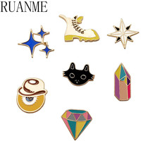 Japanese cartoon DIY kittens star cowboy black treasure hunt adventure tour stars brooch pins brooch brooches accessories fashio(China)