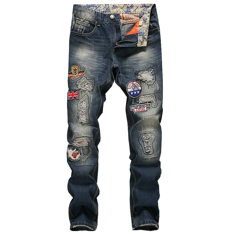 Europe American Ripped Men Jeans Badge Patch Mens Denim Trousers Dark Blue Broeken Man Biker Pants Young Boys Dancer Nightclub Одежда и ак�е��уары<br><br><br>Aliexpress